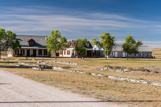 Left to Right Behind Barrack Ruins; Post Surgeon's Quarters, Lt. Colonel's Quarters and Post Trader's Store