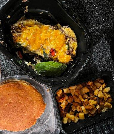 Spicy Poblano Omelette, Pancakes & Crispy Breakfast Potatoes,