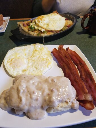 Biscuits and gravy special and the Corned beef skillet.