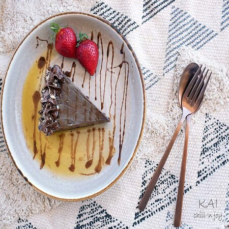 We serve sweet smiles. Chocolate cake