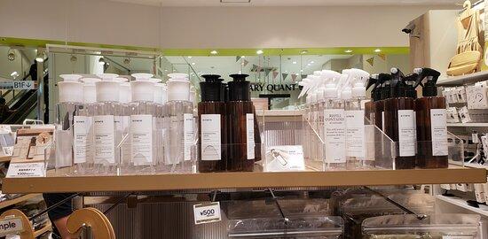 食器洗剤用ボトル スプレータイプとスポンジおしつけると出てくるタイプ 便利!