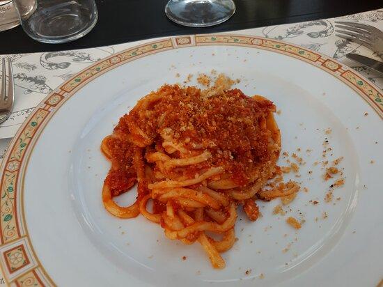 Pici al sugo di persico (mezza porzione)