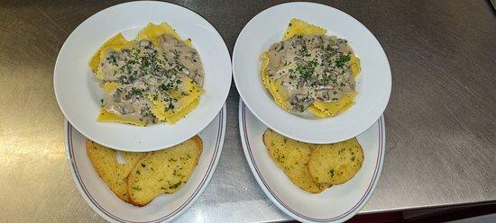 Mushroom ravioli (specials)
