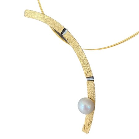 Handmade silver925 neckpiece with 22K gold and fresh water pearl.By a Greek designer.