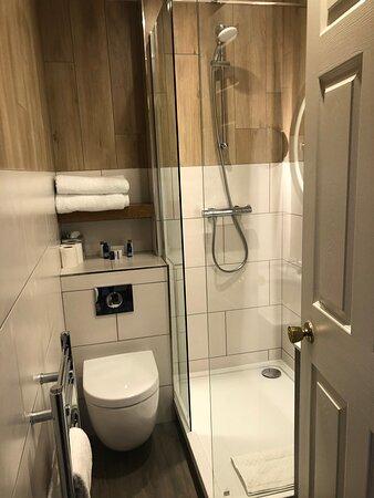 Tight squeeze in heritage room bathroom with sink behind the door