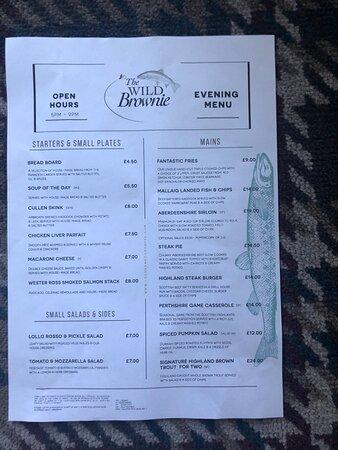 Wild Brownie bar menu