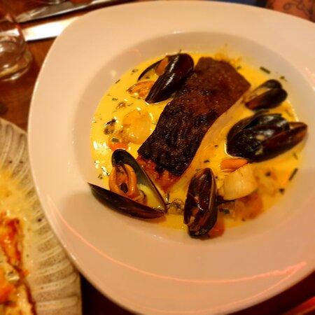 Wild seabass and seafood saffron broth mm