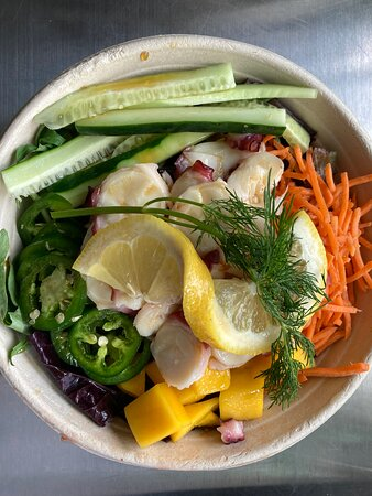 One of our specials: The Citrus Tako (octopus) Poke Bowl