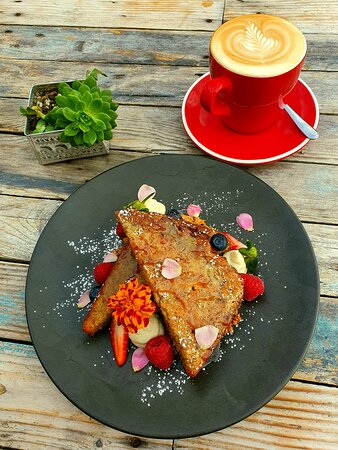 In-house Roasted coffee and Banana Bread French Toast 🤤