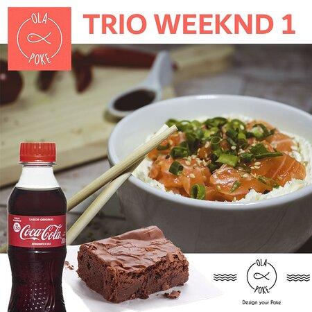 Trio Weeknd 1 - 1 Poke Filadelfia, 1 brownie artesanal gourmet (da casa) e 1 mini refrigerante.
