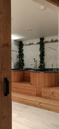 One of the two private beer spa rooms