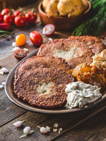 Potato pancakes with 3 sauces