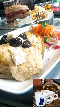 Hummus Feta and Olive Baked Potato