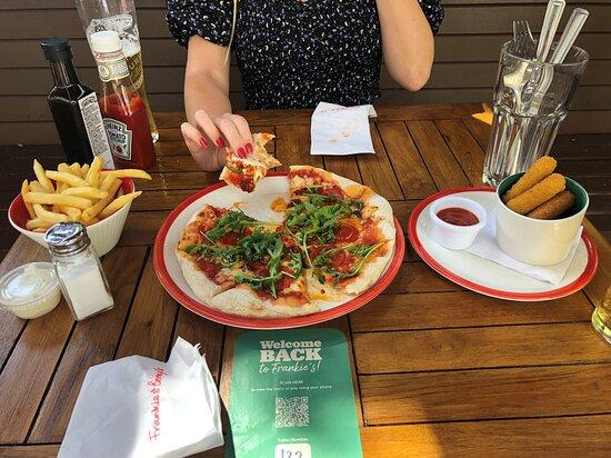 Main - Italian Hot pizza, with fries and mozzarella sticks