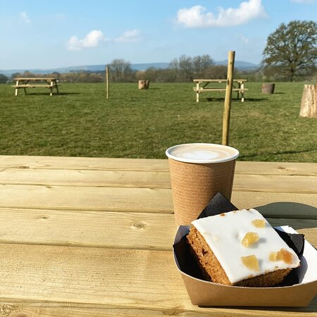 Enjoy a hot drink and locally baked cake whilst overlooking the South Downs.