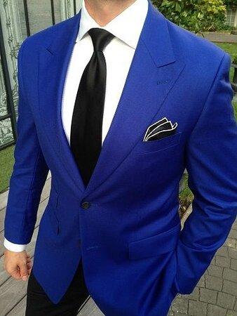 Custom Made Royal Blue Formal Peak Lapel Jacket with Black Trouser.