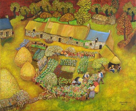 """Tableau Lucien Pouedras. Exposition """"L'attraction cheval, le cheval dans le monde rural""""."""