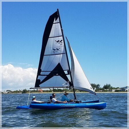 Sailing on the very stable and fun WindRider 17 Trimaran