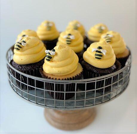 Custom bumblebee themed gender reveal cupcakes