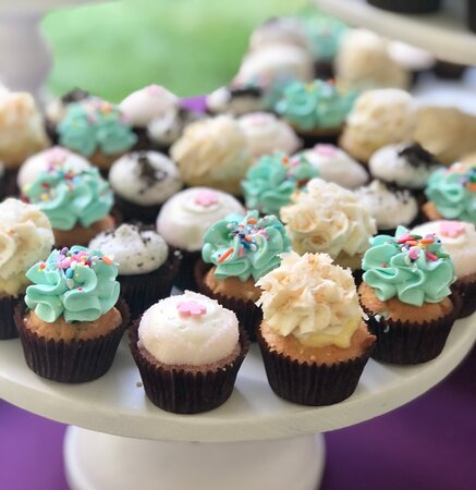 colorful mini cupcake wedding assortment