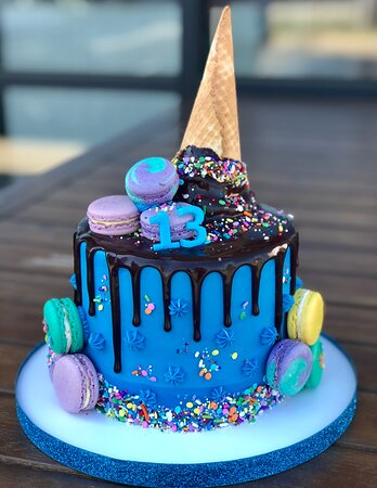 custom ice cream and macaron themed cake