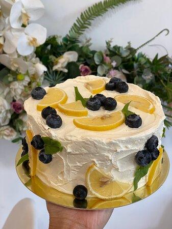 light and refreshing Phuket birthday cake with lemon, fresh blueberries, red velvet sponge and cream cheese by Passion bakery Phuket