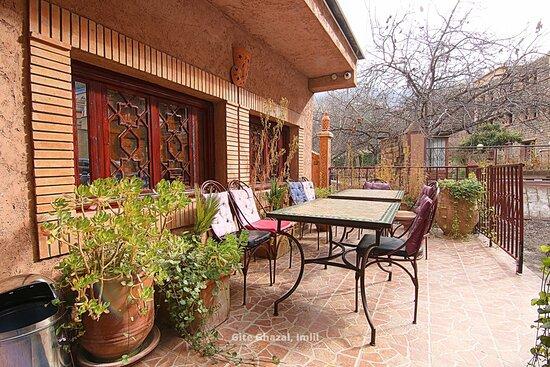 Terrace at Hotel Ghazal in Imlil, Morocco