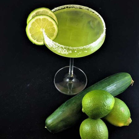 Cucumber Lime Margarita. We also offer more Margaritas, Mimosas, Sangria, Bottled and Draft beers.