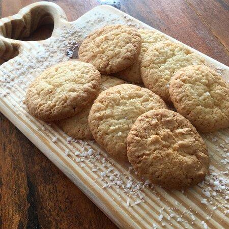 Esse é o cookies de coco (kokosmakronen), com 70% de coco na sua composição.