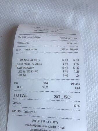 La cuenta. Buena relación calidad-precio. Queda claro