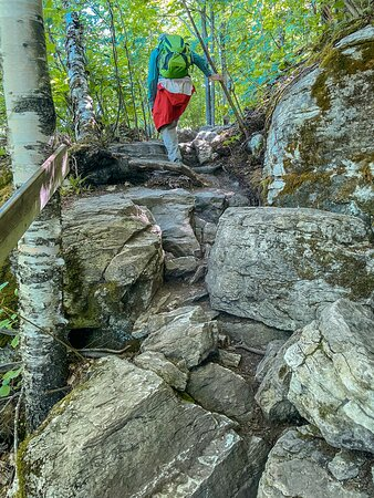 There are a few spots where it's necessary to navigate some large rock formations. There aren't many such places, but do take extra care if the rocks are wet with rain or dew.