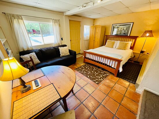 Studio - includes private bath, sofa bed, dining table, kitchenette, and outdoor seating.