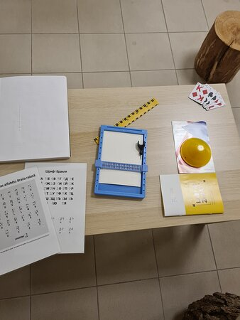 Our reception: here you can learn many exciting new things, like writing in Braille