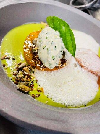 Courgettes / Basilic / Tomates et Crème aux Herbes
