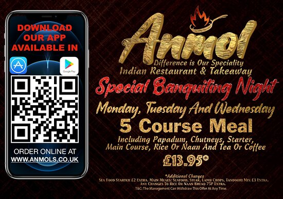 our mid week days offer  only £13.95. 5 cource meal.