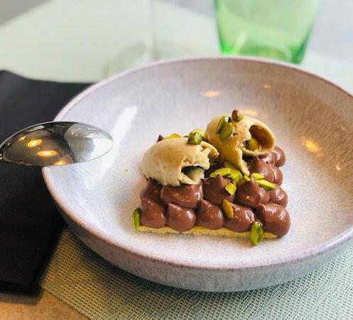 Ganache chocolat, Glace et sablé pistache