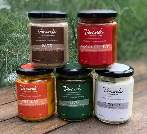 """Our delicious """"cheeses"""" and spread are available by the jar (order 24 hours in advance)"""