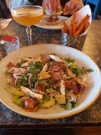 Chicken, Bacon & Avocado Salad with Sweet Potato Fries!