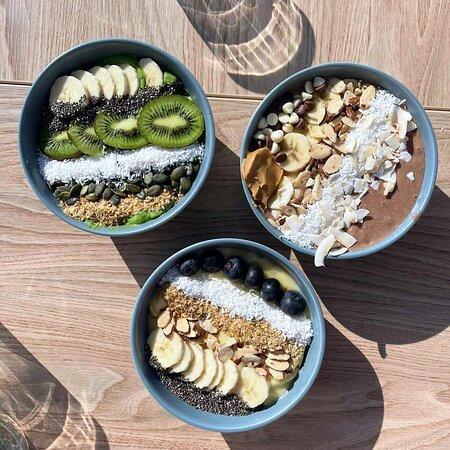 Our famous bowls - Green Goddess Bowl - Chocoholic Bowl - Sunshine Bowl