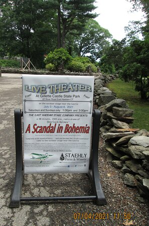 The sign outside stage area.