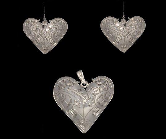 Love birds sterling silver earrings by Harold Alfred, Kwakwaka'wakw Love birds sterling silver pendant by Harold Alfred, Kwakwaka'wakw