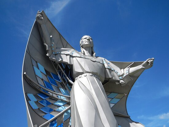 Dignity Statue over looking Missouri River in Chamberlain, SD