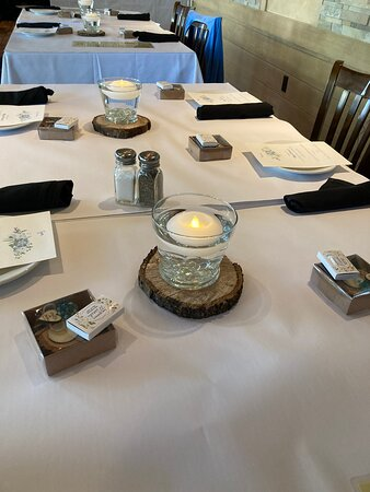 White linens and black napkins provided by Aldo's add to the festivities