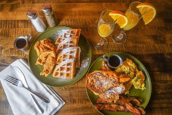 Chicken & waffles for brunch at Ben's Next Door