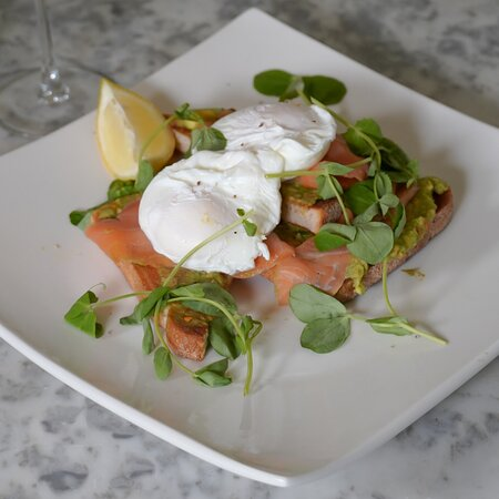 Crushed Avocado & Salmon.  Make sure to follow us on Instagram for discounts, updates and food pics, @theoliveandpickle