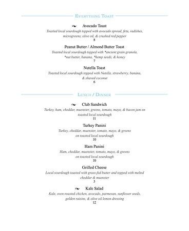 Food menu - back