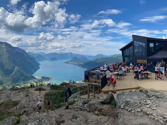 Breathe in the fresh Norwegian air and  enjoy magical view of mountain and fjords at Eggen Restaurant.