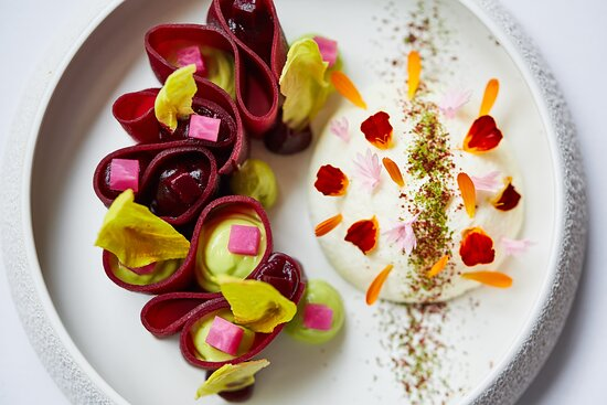 The perfect summer dish; beetroot with goats cheese and lovage
