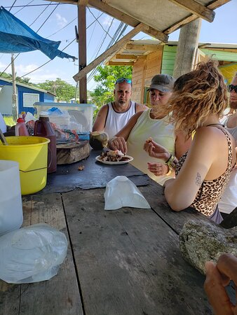 Great street food by the seaside in the town of Green Island