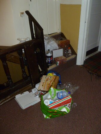 Rubbish in the corridors and communal areas.
